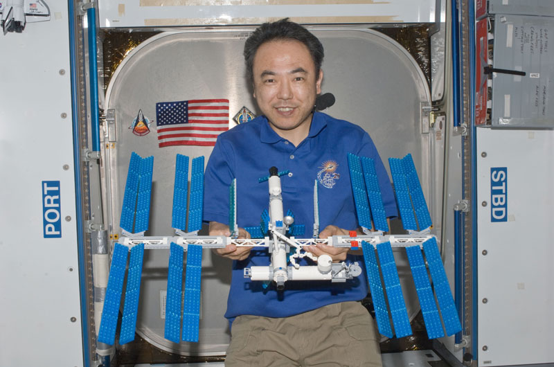 JAXA astronaut Satoshi Furukawa builds LEGO International Space Station