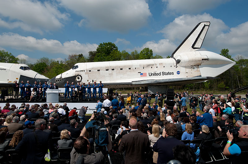 Final wheels stop: Space shuttle Discovery enters the Smithsonian