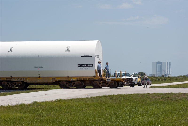 Final shuttle booster segments arrive by train