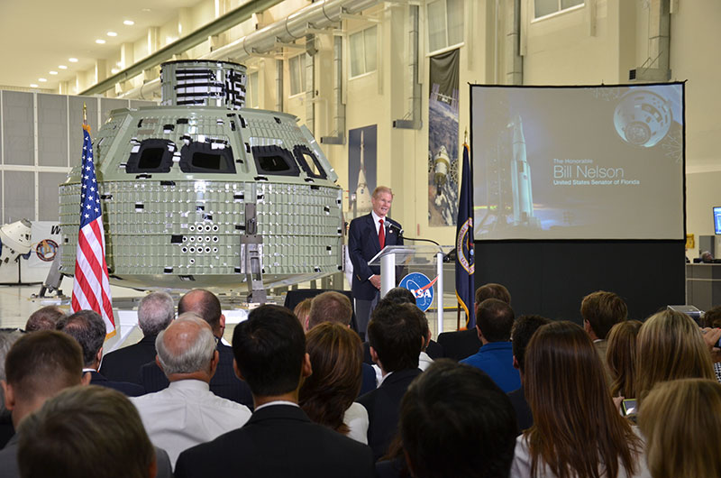 First space-bound Orion crew capsule arrives at NASA's launch site