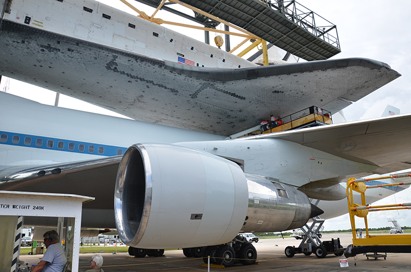 Space shuttle Endeavour mounted on 747 jet for final flight to L.A.
