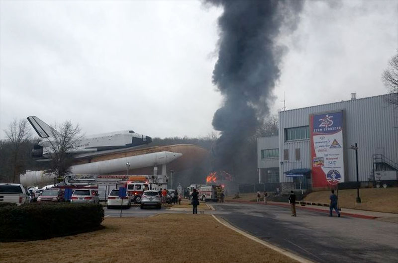 Fire breaks out inside converted Saturn V stages at U.S ...
