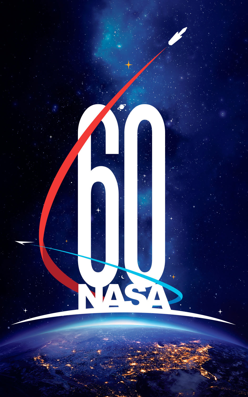 Nasas new 60th anniversary logo depicts historic past and nasas 60th anniversary logo created by matthew skeins nasa altavistaventures Image collections
