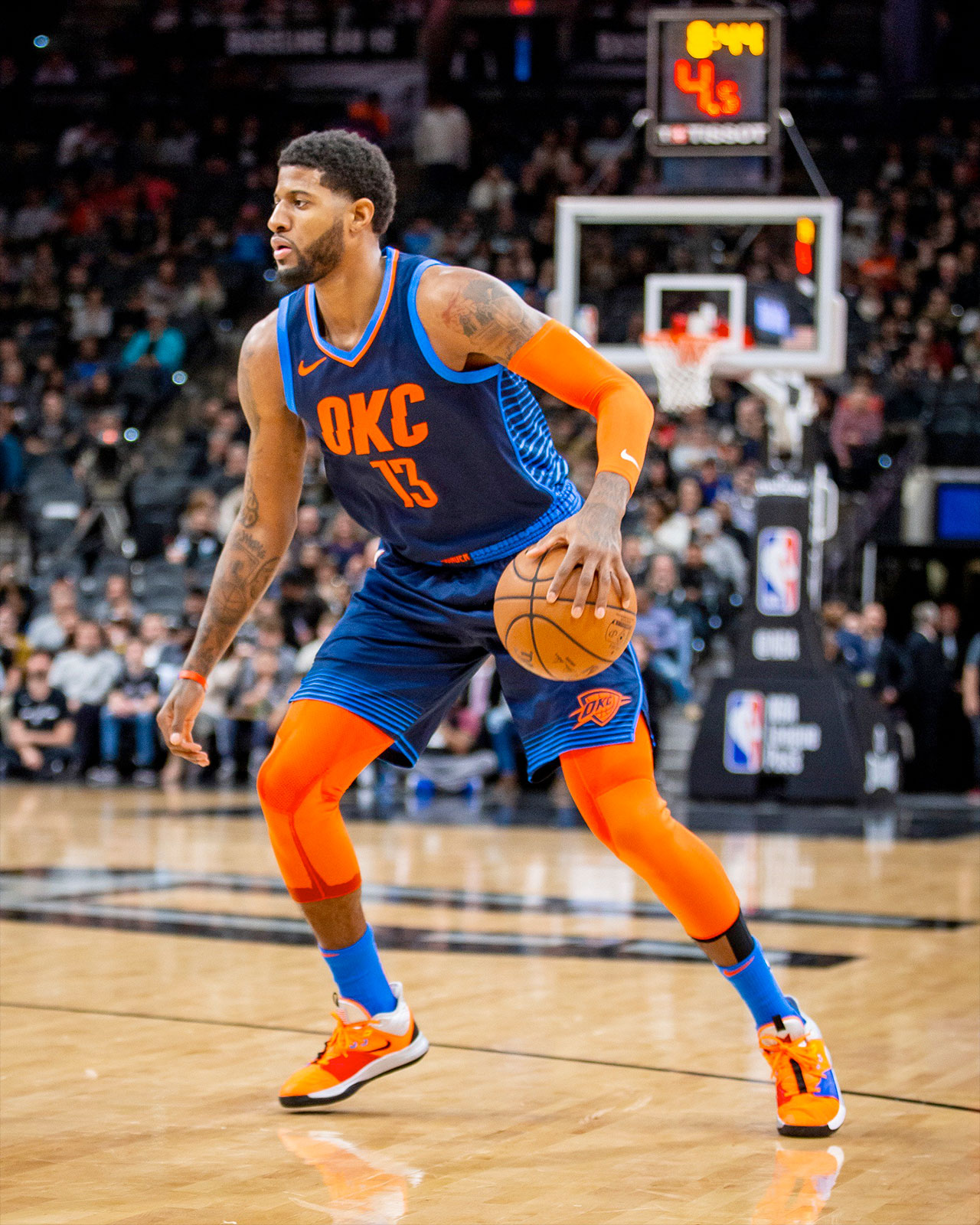 Oklahoma City Thunder small forward Paul George debuted his PG 3 X NASA  sneakers on the court on Jan. 10 3af3b677788d
