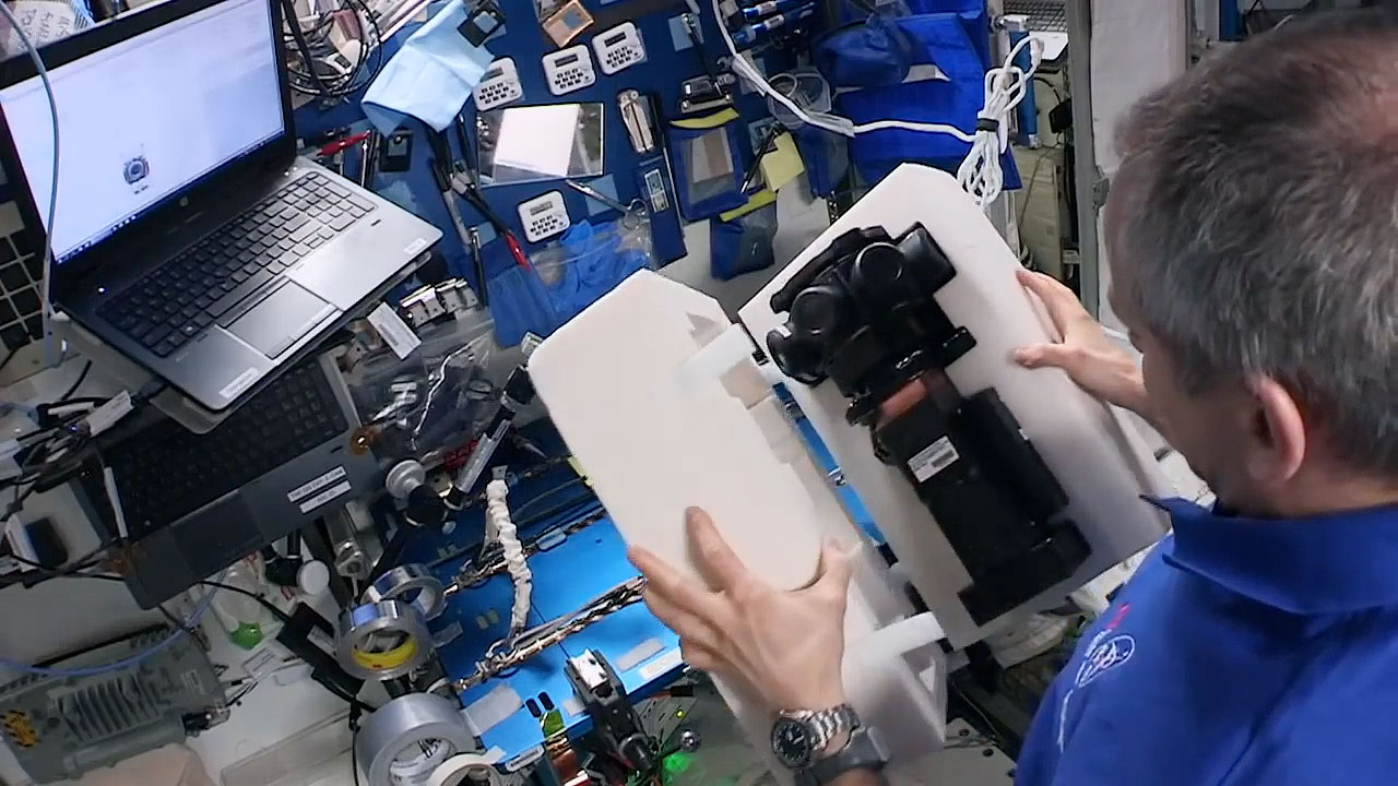 c9ba8da84847 Expedition 58 flight engineer David Saint-Jacques unpacks one of two Z CAM  cameras delivered to the International Space Station in December 2018