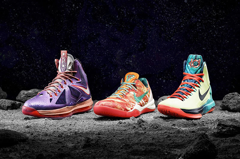 release date 95989 db65d LeBron James, Kobe Bryant and Kevin Durant received special shoes  commemorating Houstons tie to space exploration. (Nike)