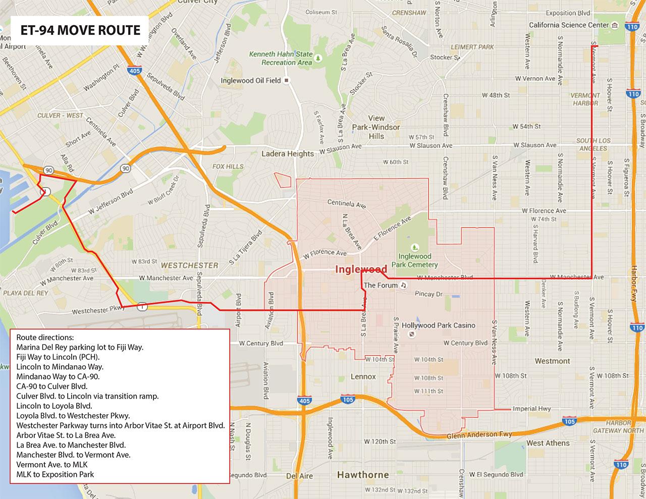 NASAs Last Space Shuttle External Tank To Cross Oceans LA - Los angeles route map