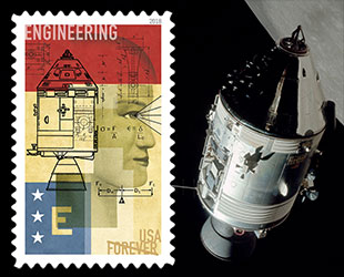 The Engineering Stamp In USPSs STEM Education Set Features NASAs Apollo Command And Service Modules USPS NASA