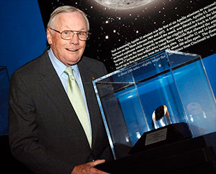 X 15 Neil Armstrong First moonwalker Neil Armstrong with his moon rock 'Bok' at the ...