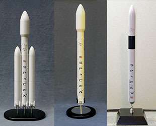 proach models line of spacex rockets from left falcon heavy falcon 9 with satellite fairing and falcon 1e proach models
