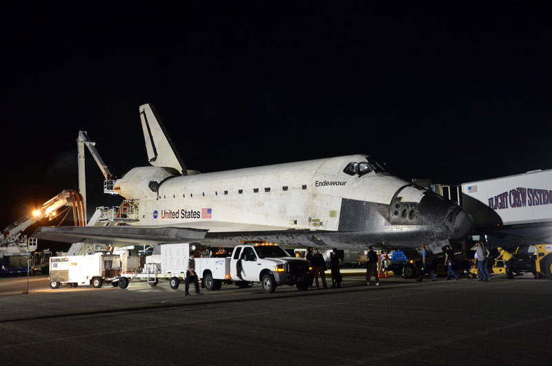 Post-last-landing walkaround of space shuttle Endeavour