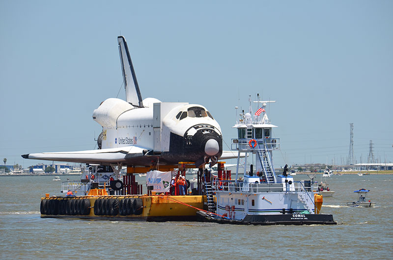 Space shuttle replica docks in Houston lake, launches 'Shuttlebration'