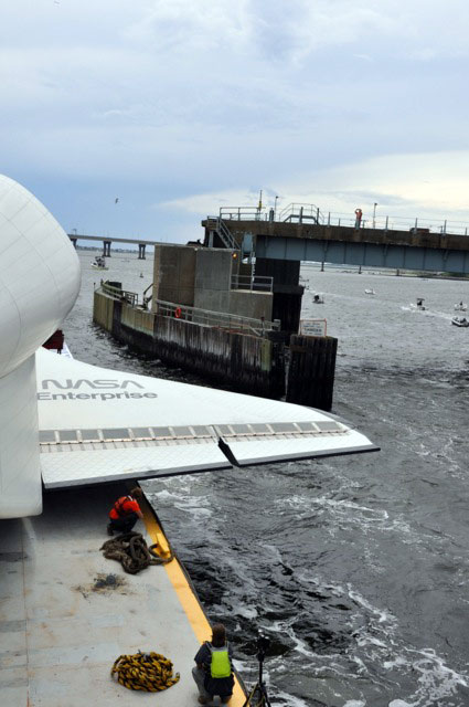 Space shuttle Enterprise damaged at sea, delivery to Intrepid delayed