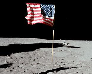 Satellite image of american flag on moon