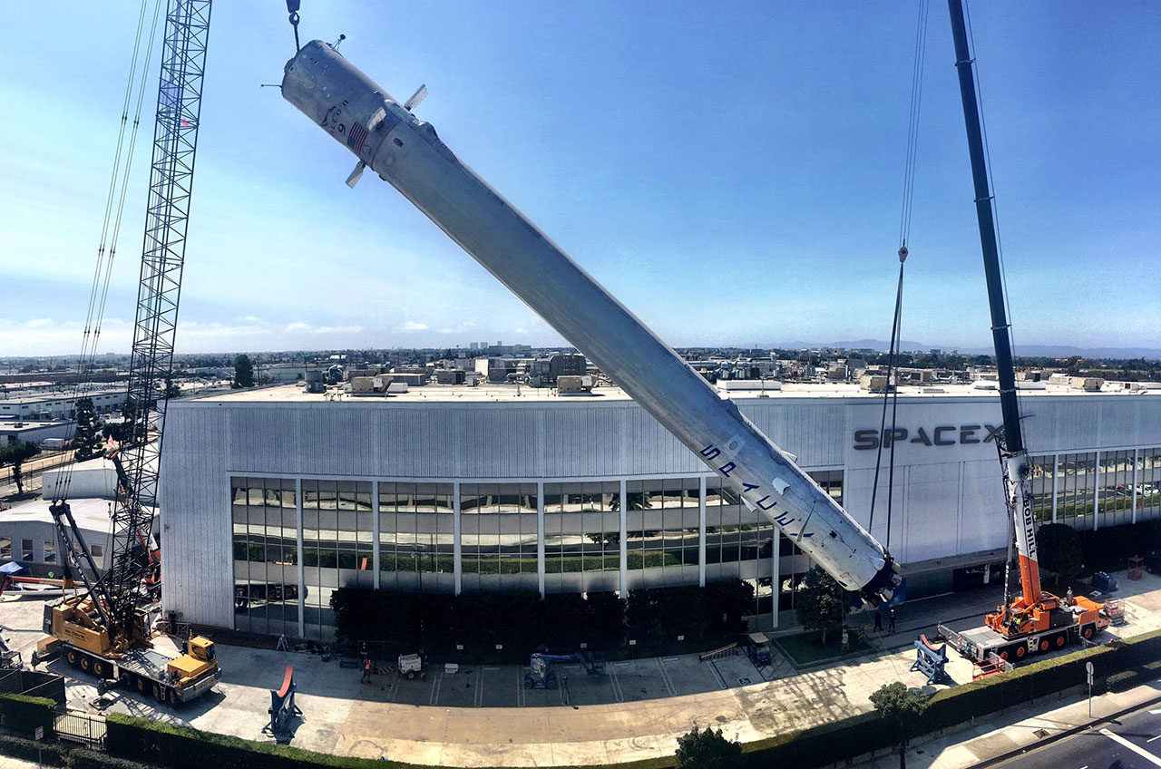 spacex lands historic recovered falcon 9 rocket stage on display collectspace