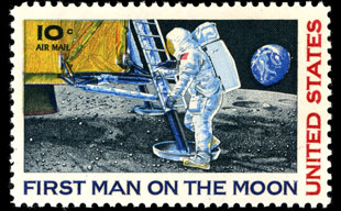 The 10 Cent First Man On Moon Airmail Stamp USPS