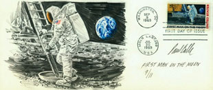 A Rare Example Of First Man On The Moon Day Cover With An Original Cache By Paul Calle Space Art
