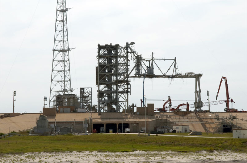 Space shuttle launch pad 'cleaned' of historic towers