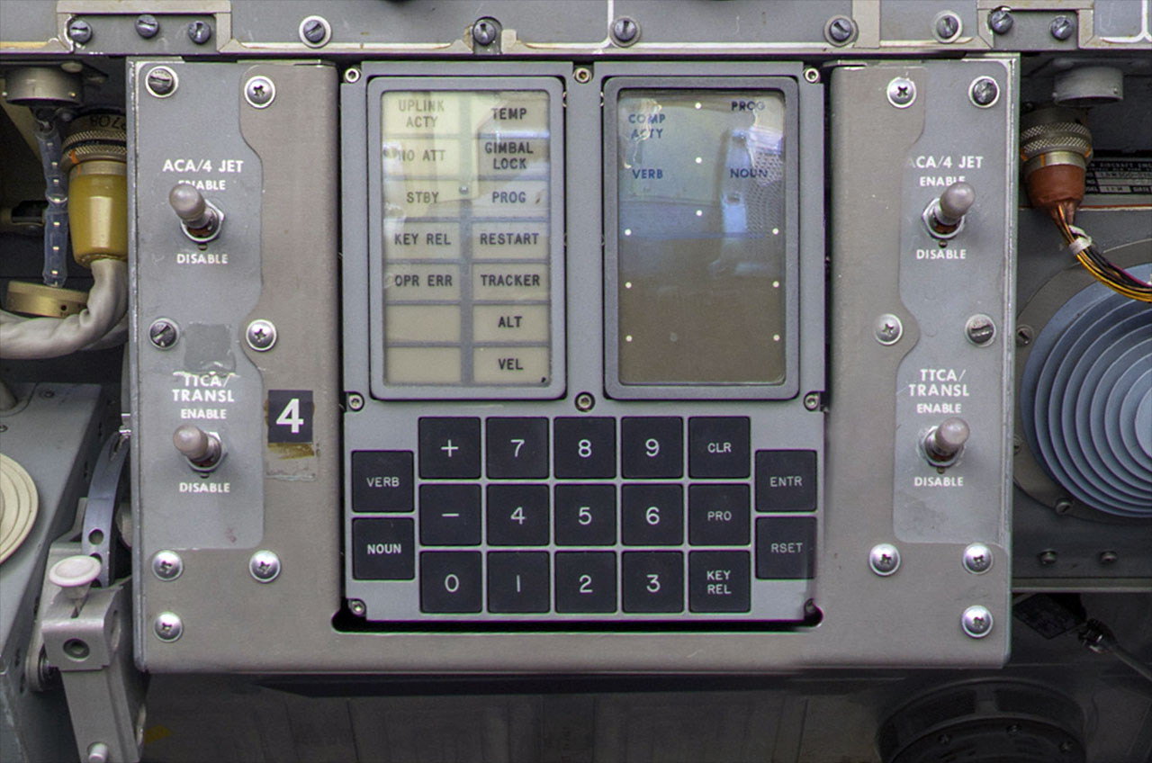 Example of the Apollo lunar module display and keyboard (DSKY) like what  lit up with 1201/1202 alarms on Apollo 11. (Smithsonian)