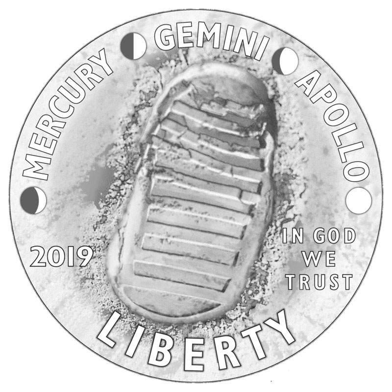 5db0a80fef07d The obverse of the Apollo 11 50th Anniversary coins features the  inscriptions