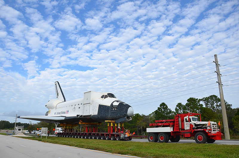Mock space shuttle moved to make way for the real thing
