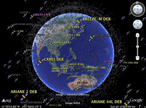 Realtime Satellite Tracking Via Google Earth CollectSPACE Messages - Satellite image of earth live