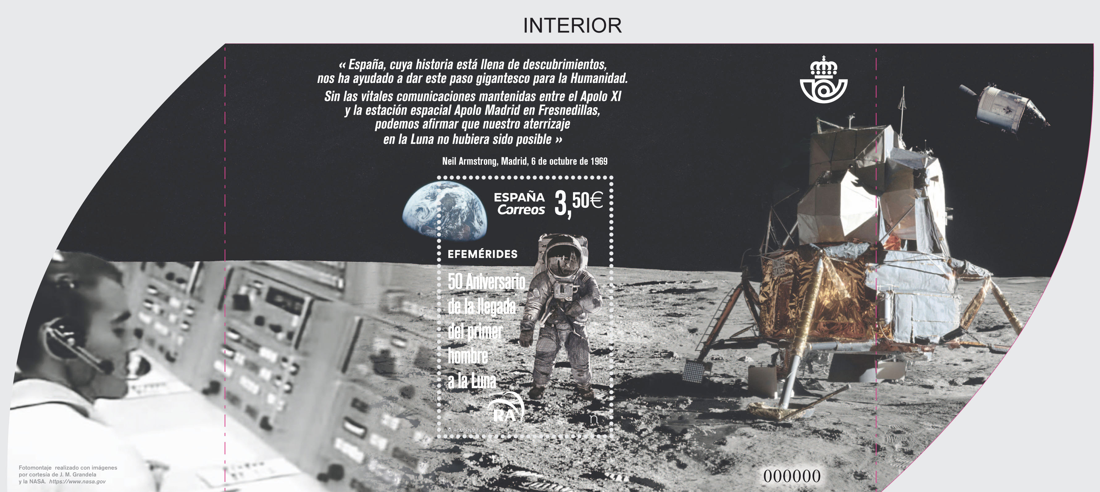 Correos (Spain) 'Man on the Moon 50th' stamp - collectSPACE