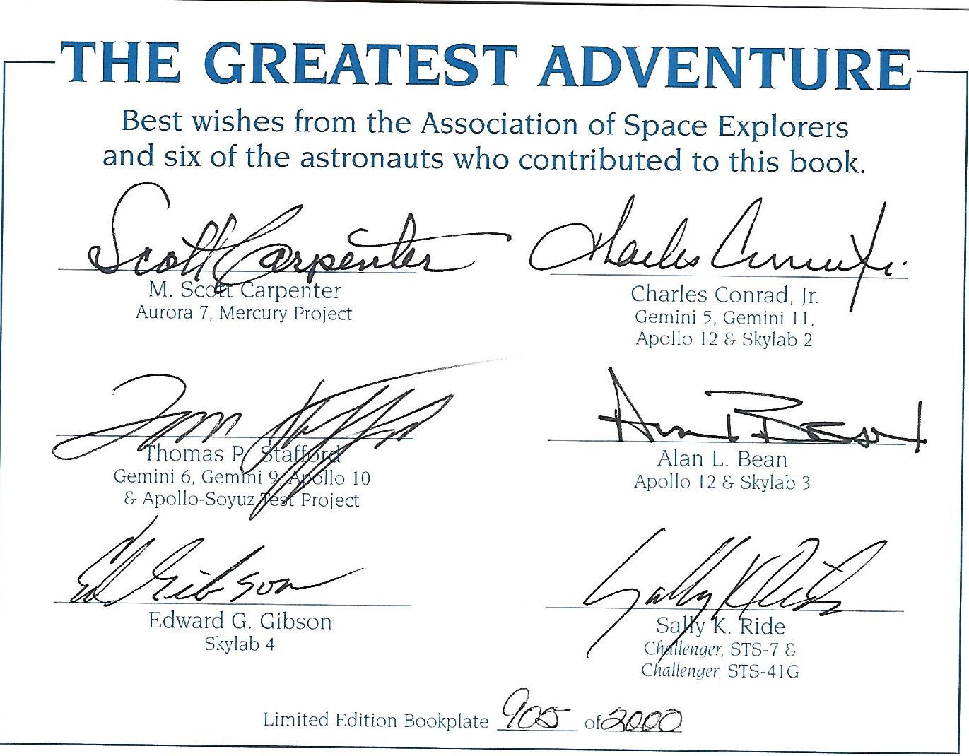 fs ase astronaut signed bookplates collectspace messages