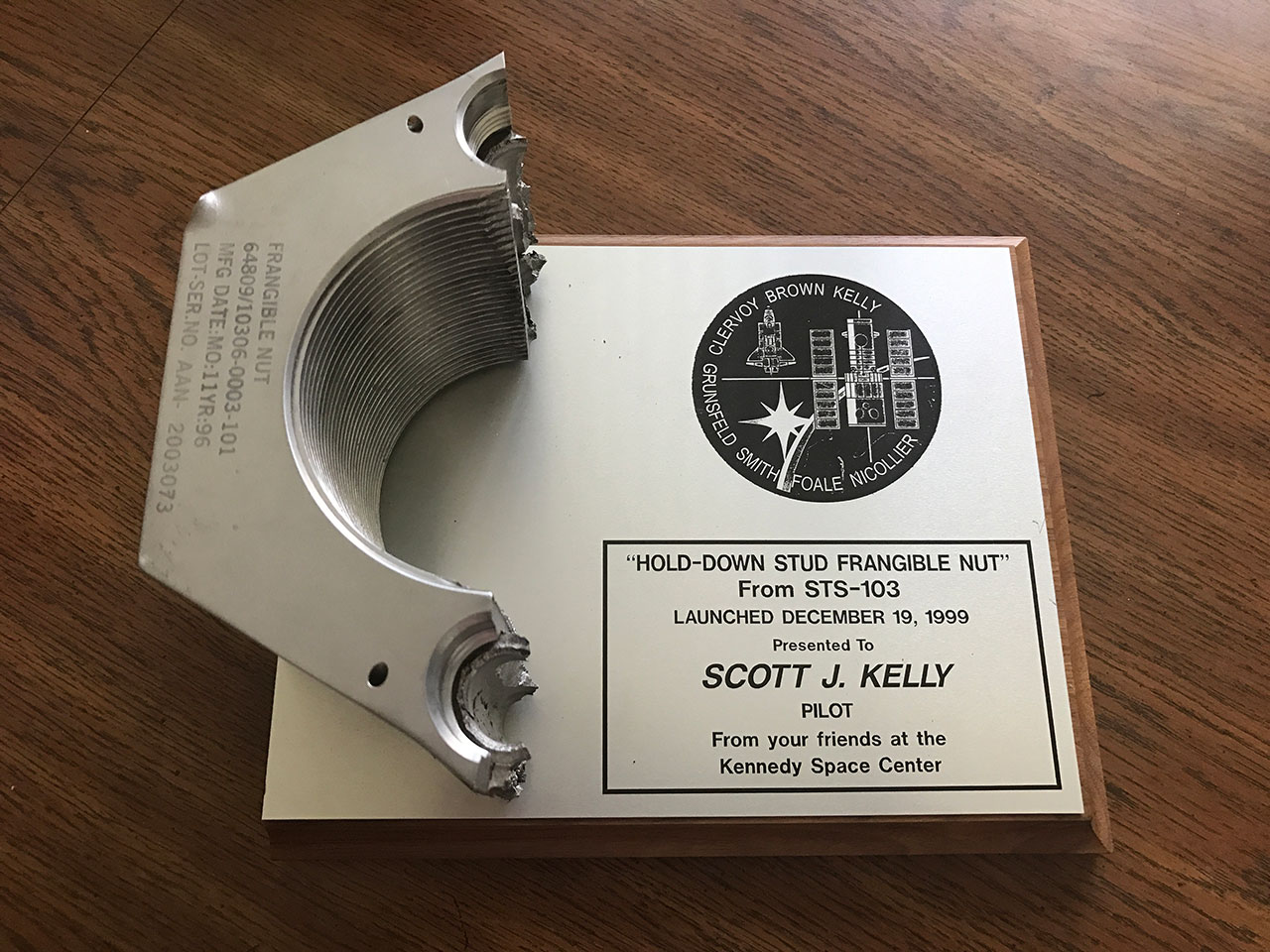Fs Sts 103 Hold Down Frangible Nut Kelly Collectspace