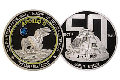 "NAVY 2/"" APOLLO 11 50TH ANNIVERSARY MOON LANDING 2/"" CHALLENGE COIN"