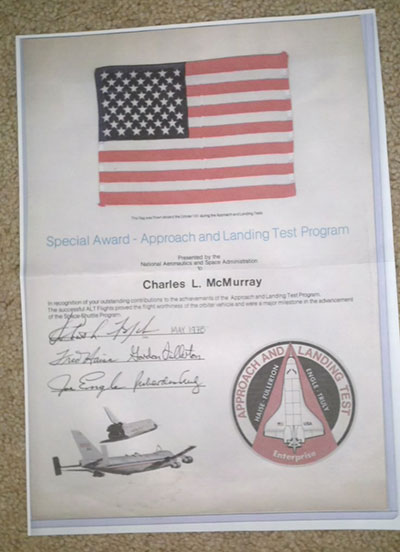 Space shuttle flown flag, patch presentations ...