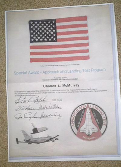 Space shuttle flown flag, patch presentations ...