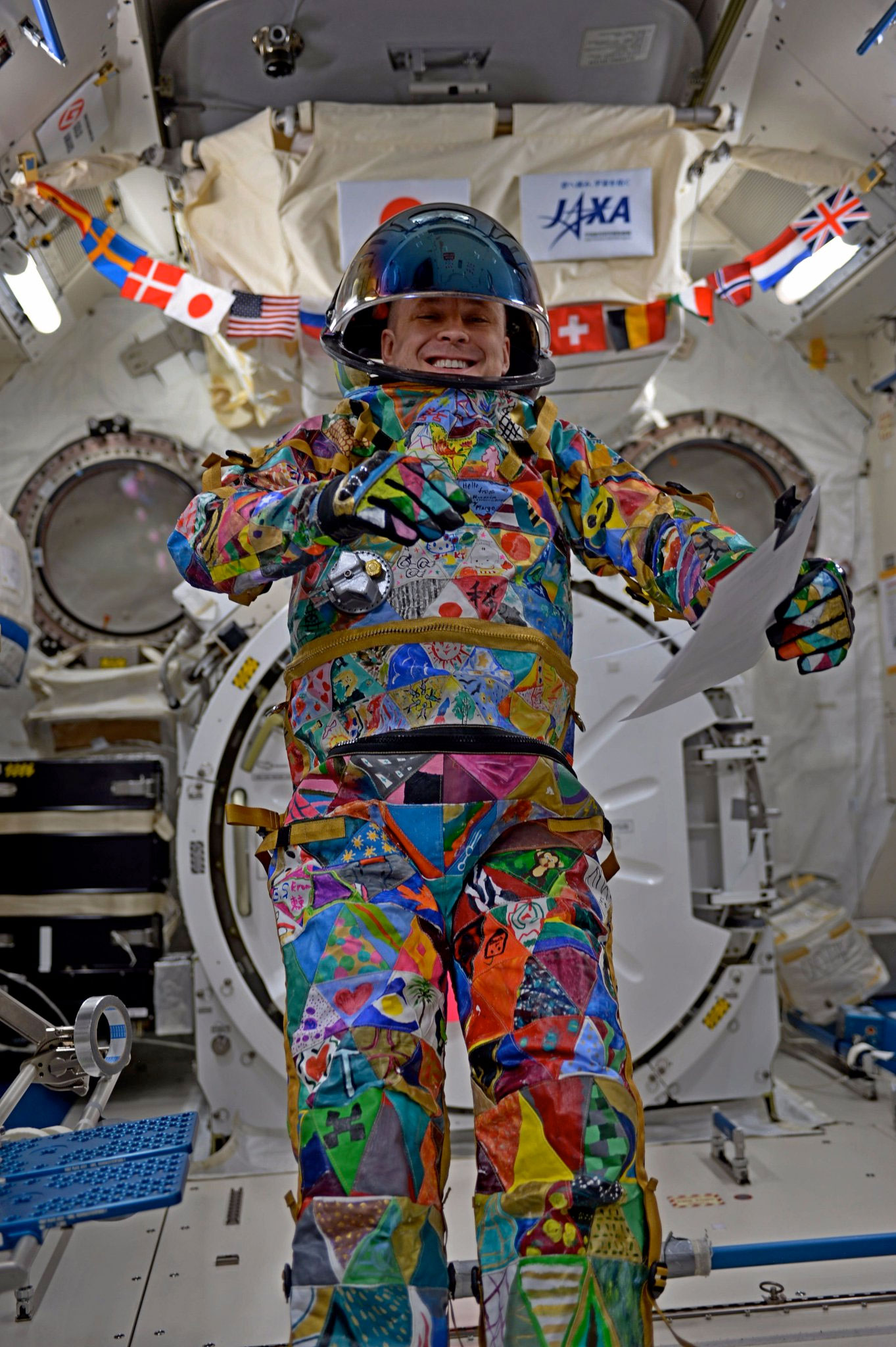 Space And Unity In Art : Spacesuit art project courage unity in space