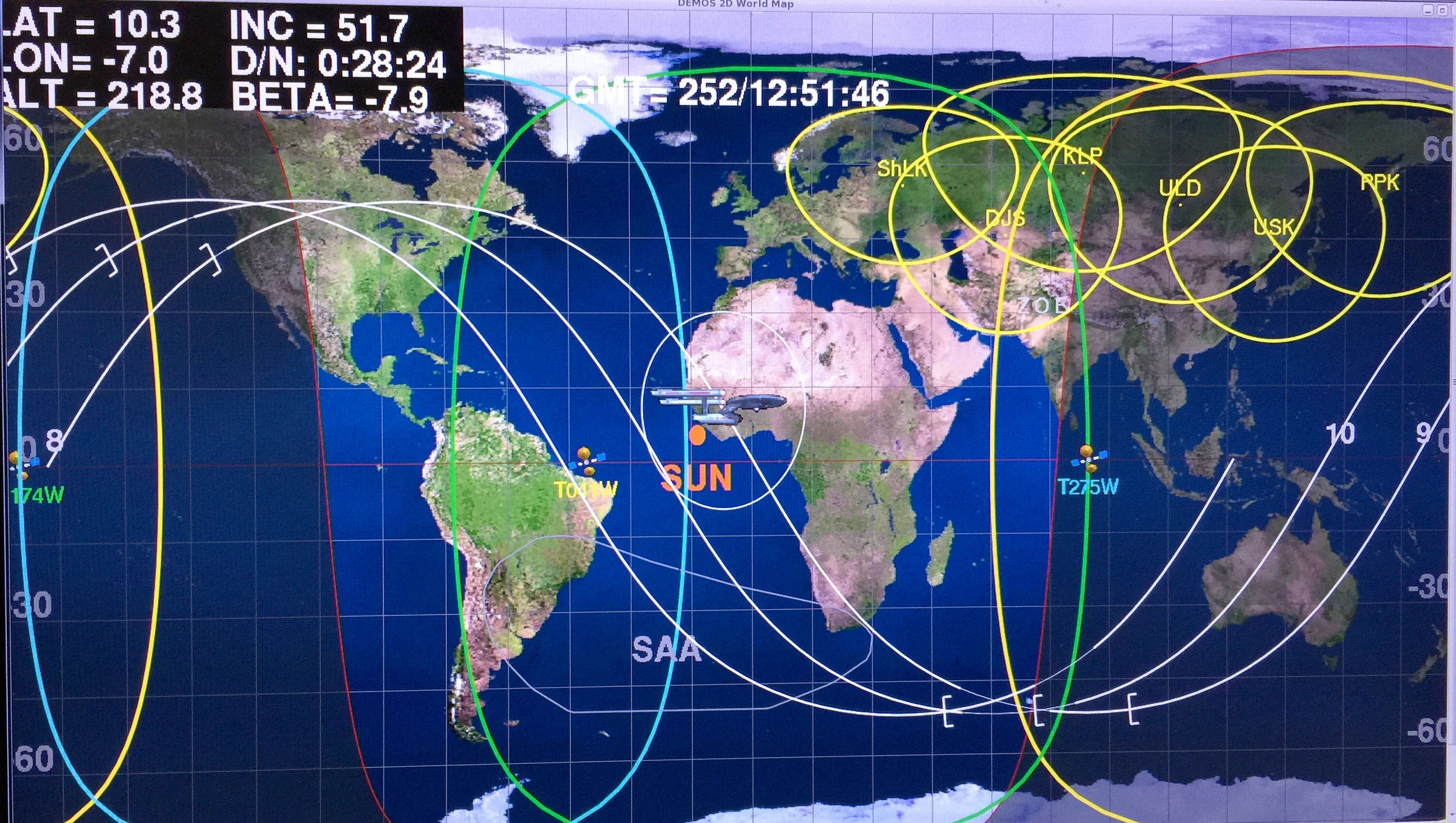 Star trek at 50 nasa and space exploration collectspace messages in honor of startrek50 an enterprise icon is used to show where station is on the world map in mission control gumiabroncs Choice Image