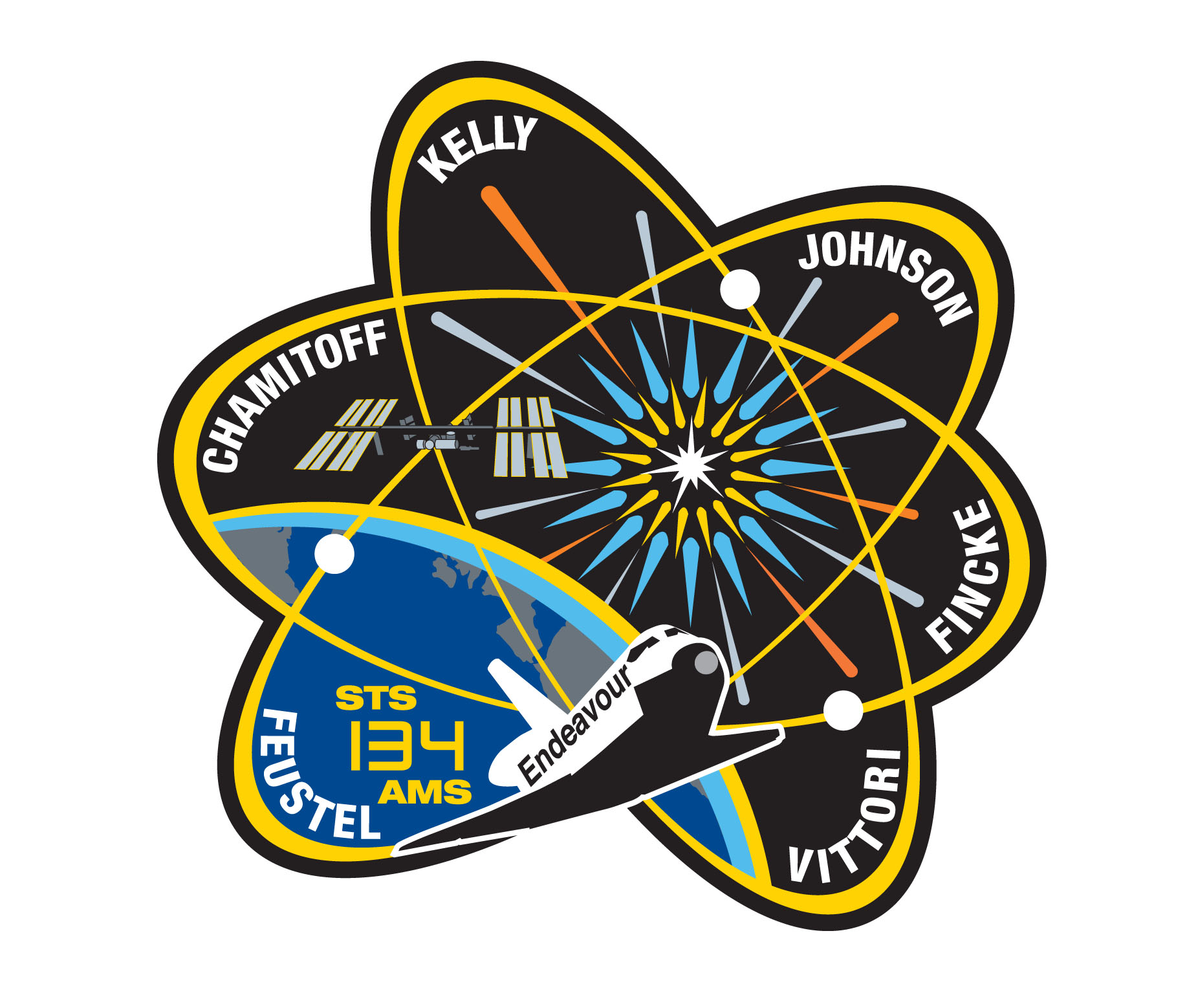 Mission Patches On Mission 4 To The International Space: STS-134 / Endeavour Mission Patch