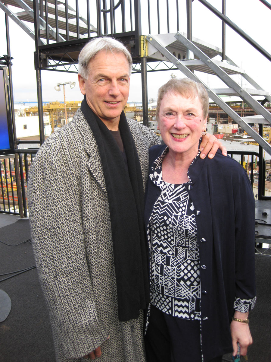 """Dee O'Hara with actor Mark Harmon, who played Schirra in """"From the"""